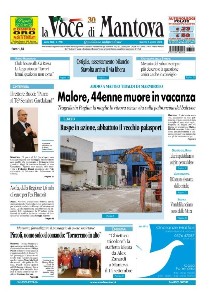 Prima Pagina Voce di Mantova OFF-LINE